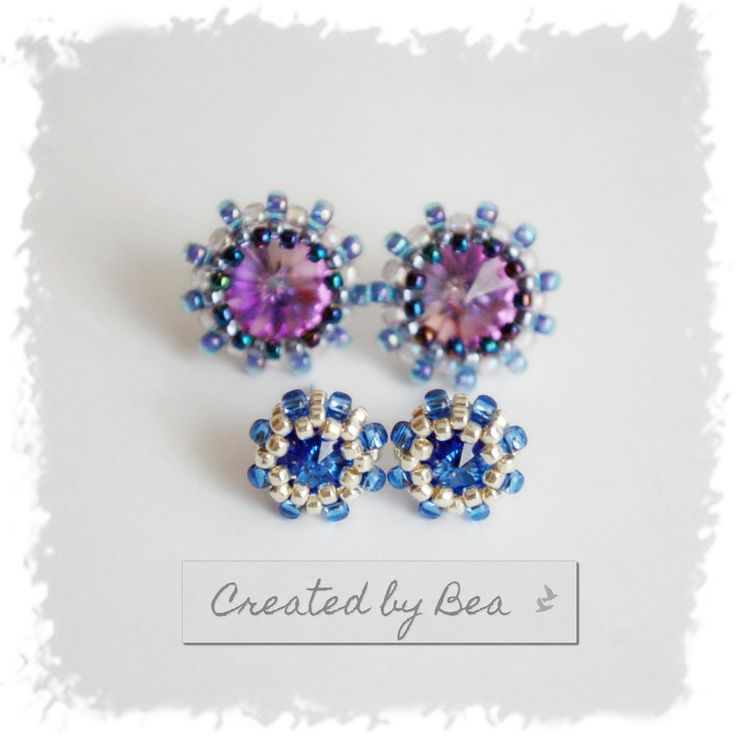 Sapphire rivoli 6 mm. I'm proud of these micro-earrings :-) http://createdbybea.blogspot.cz/