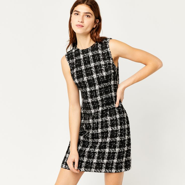 Warehouse, TWEED CHECK DRESS Multi 3