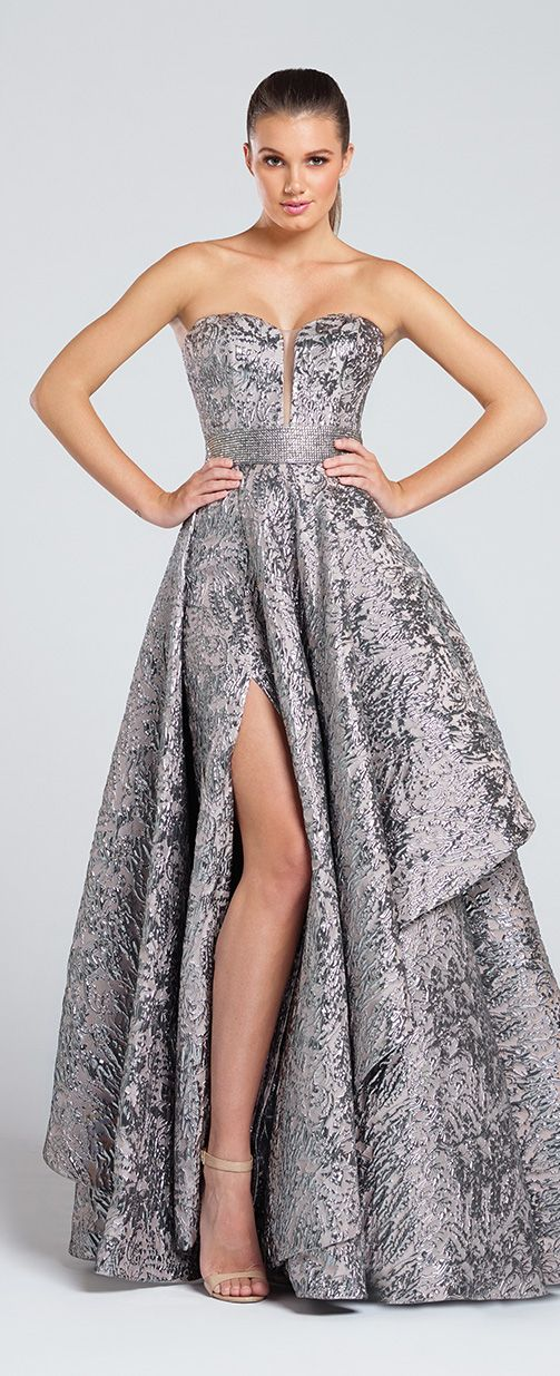 Prom Dresses 2017 - Ellie Wilde for Mon Cheri - Strapless Metallic Prom Dress with Thigh High Side Slit - Style No. EW117040