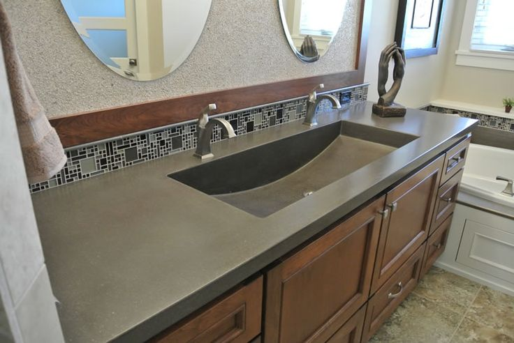 Hard Topix   Precast Concrete Countertop with Integral Half Moon Double Sink Vanity   Grand Rapids  MI HardTopix com   Concrete Countertops   Pinterest. Hard Topix   Precast Concrete Countertop with Integral Half Moon