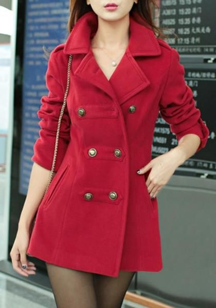 eef1bc79c2f Red Pockets Turndown Collar V-neck Double Breasted Long Sleeve Cardigan Coat