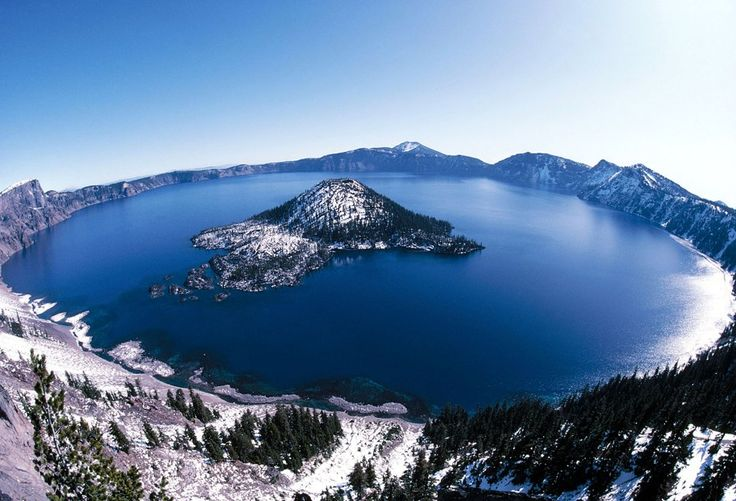 Giant crater lake - The crater lake at Crater Lake National Park in Oregon was formed about 150 years ago by the collapse of the volcano Mount Mazama