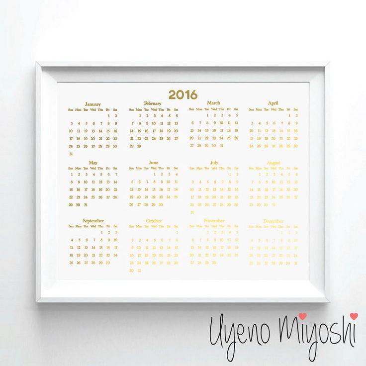 2016 Calendar Gold Foil Print, Gold Print, Custom Calendar Print in Gold, Illustration Art Print, Calendar 2016 Gold Foil Art Print by UyenoMiyoshi on Etsy