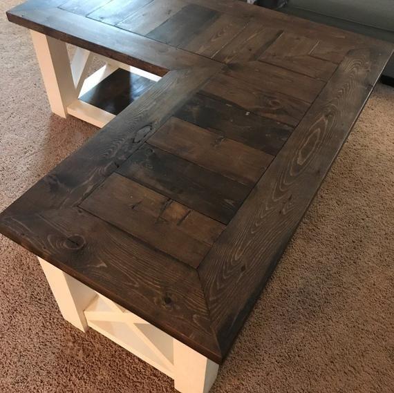 l shaped farmhouse coffee table