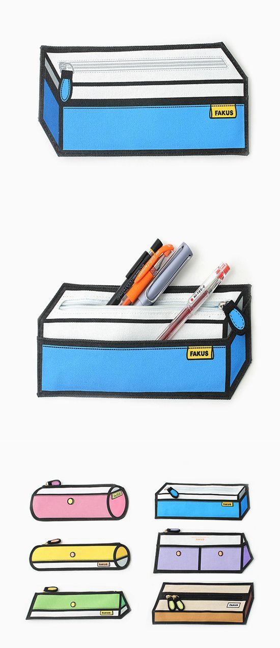 Fakus pencil case collection tricks the eye.                  만화같은 눈속임 필통.