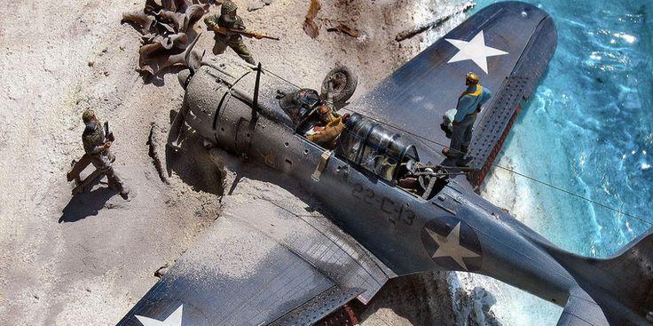 Douglas SBD 3/A Dauntless :  Trumpeter modelkit scale 1:32 USN Pilot & Gunner (WWII-Pacific War): Nemrod set scale 1:32 Japanese Officer WWII:Italian kits scale 1:35 Japanese Infantryman WWII:Italian kits scale 1:35