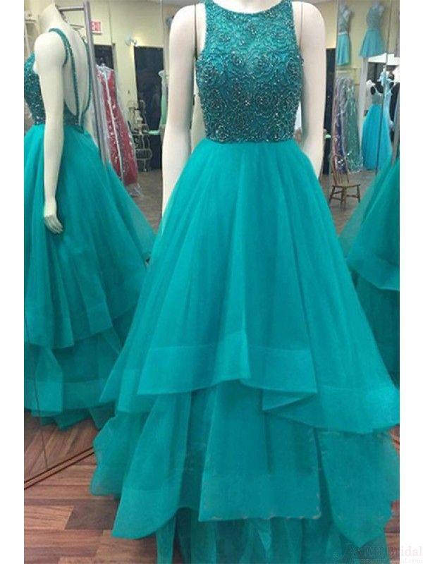 Beading Bodice Long Tulle Backless  Prom Dresses Evening  Dresses  #promdresses #SIMIBridal