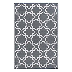 DII Moroccan Indoor/Outdoor Lightweight Reversible Fade Resistant Area Rug, Great For Patio, Deck, Backyard, Picnic, Camping, BBQ, & Everyday Use – 4 x 6-Feet, Gray Lattice