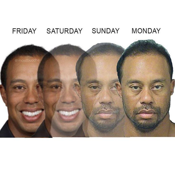 Friday / Saturday / Sunday / Monday | Tiger Woods' Mugshot | Know Your Meme