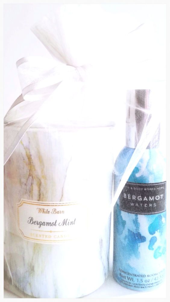 Bath & Body Works Bergamot Mint Medium Marble Candle & Room Spray Set #BathBodyWorks