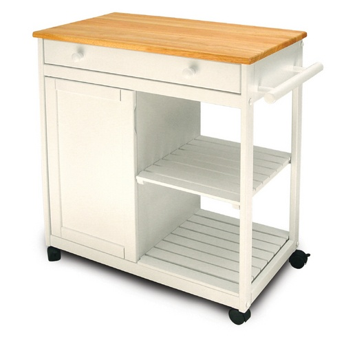Zoomed: Catskill Craftsmen White Kitchen Trolley with Door  well reviewed; $277.96