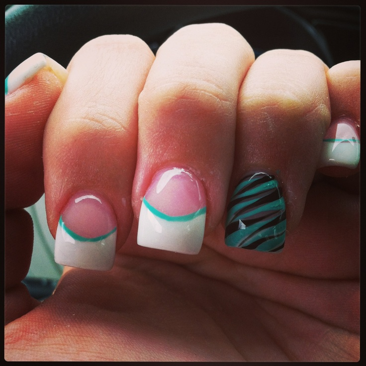 Pink and whites with turquoise and black zebra accent nail