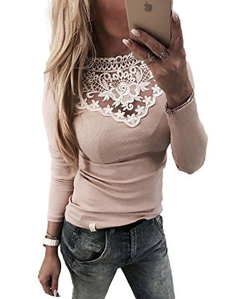 Boutiquefeel Damen Lace Splicing Langarm Patchwork T-Shirt Tunic Bluse  Oberteile Rosa S - Blusen outfit blusen kombinieren bluse… 437c54962f