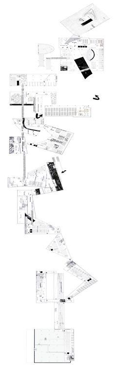 Oma ambassade des Pays Bas_Berlin plan déployé le long du parcours. Le parcours en hauteur est représenté comme s'il était sur un seul niveau, les qualités des espaces apparaissent. Dans le processus du projet, on peut faire s'inverse, c'est-à-dire créer ce plan en amont