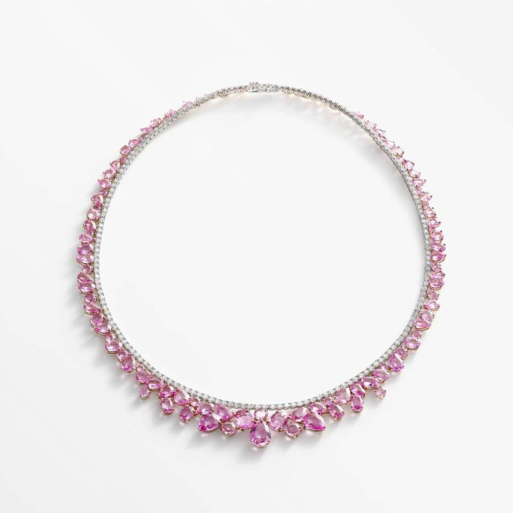 william and son pink sapphires necklace