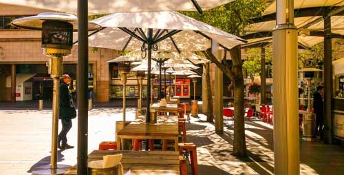 Sunranger Market Outdoor Umbrellas, perfect for cafes! Available now at Shade Australia