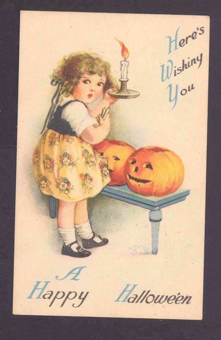 Darling Girl Puts Candles in Halloween JOL Jack 'O Lanterns Clapsaddle Postcard | eBay