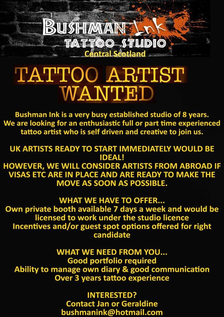 Tattoo Artist Wanted Shop Name Bushman Ink Tattoo Body Piercing Studio Address 4 We Uk Artist Piercing Studio West Lothian