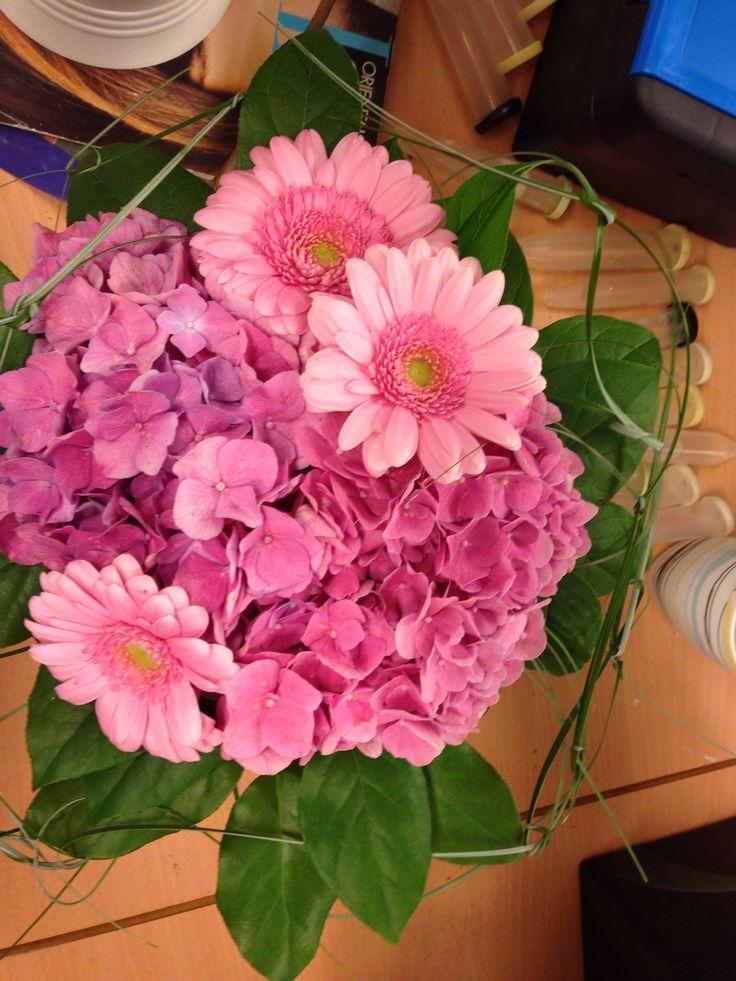 Bukett, hortensia, germini, rosa