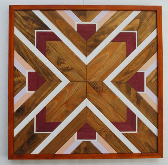 Native American Geometric Design Wood Wall Art by LandWcreations