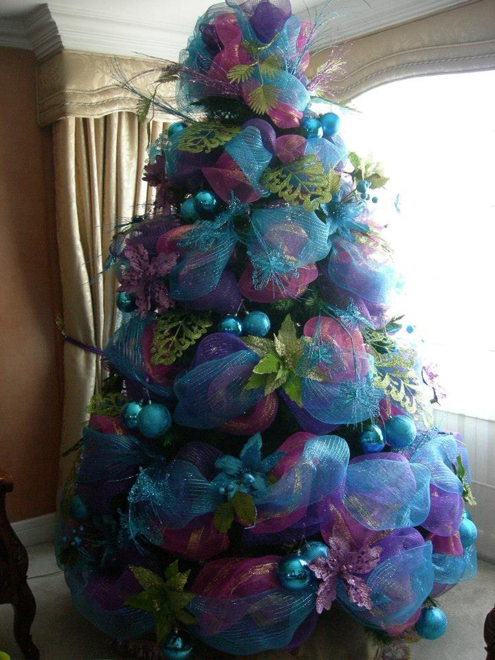Arbol de navidad azul pinos de navidad decorados rbol - Arbol de navidad morado ...