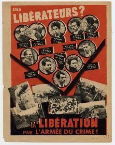 L'Affiche rouge est une affiche de propagande placardée en France par le régime de Vichy et l'occupant allemand, dans le contexte de la condamnation à mort de23 membres des Francs-tireurs et partisans – Main-d'œuvre immigrée (FTP-MOI),résistants de la...