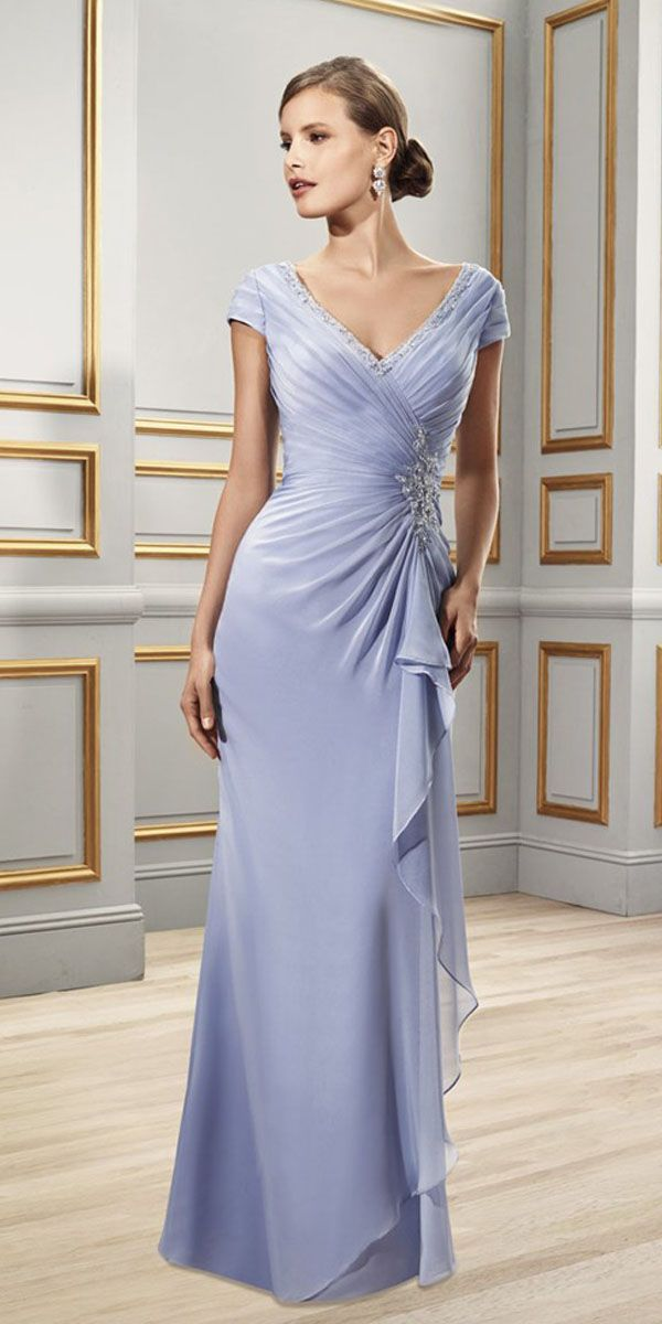 Chic Chiffon Sheath V-neck Cap Sleeves Floor-length Mother of the Bride  Dresses 3cc154abad03
