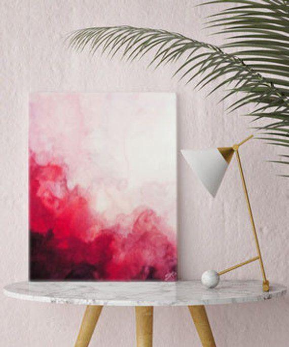 Aquarell Druck, Leinwand Kunst, rote abstrakte Kunst, Leinwand, Kunstdruck, Wandkunst, Aquarell, Wohnkultur, Wand-Dekor