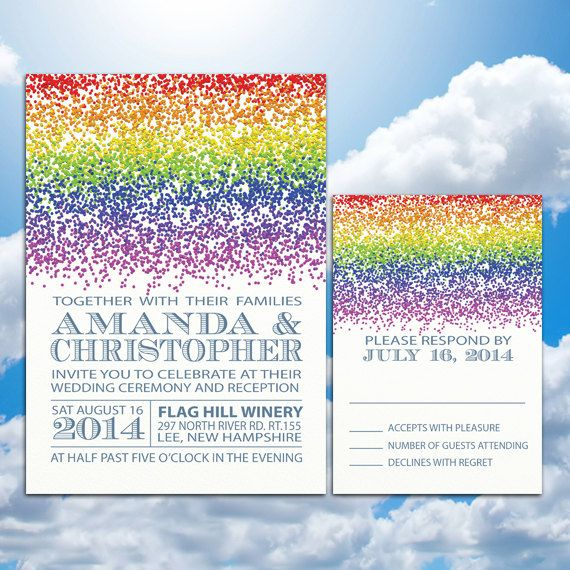 Rainbow Wedding Theme Invitations and RSVP by PineAndBerryShop, $60.00