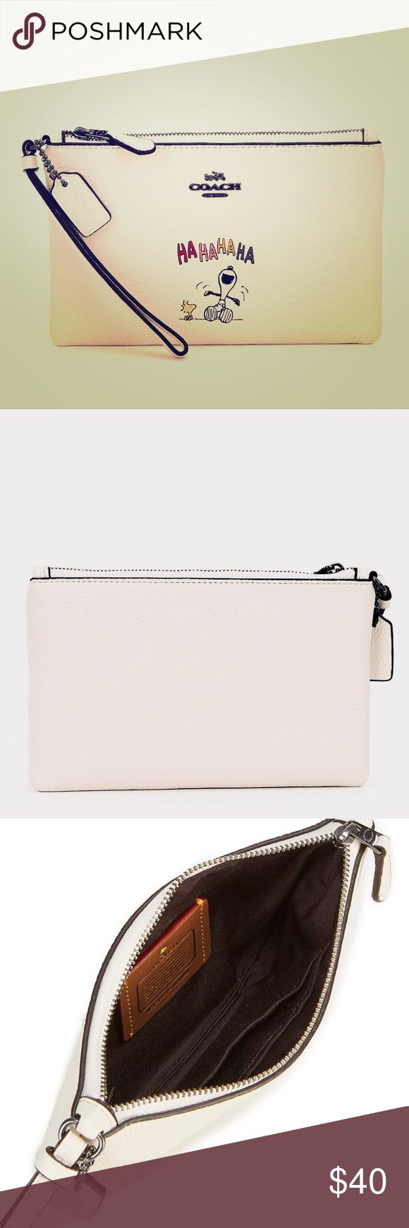 """NWT COACH SNOOPY SMALL WRISTLET Brand new, never used and authentic Coach Snoopy wristlet in white/chalk pebble leather.  Contains: Two credit card slots Zip-top closure, fabric lining Wrist strap attached 7.5""""W x .5""""D x 4.75""""H Fits an iPhone or Android ***WILL SHIP WITHIN 24 HOURS OF PURCHASE*** ***Please no low-ball offers or requests to hold item, thanks!*** Coach Bags Clutches & Wristlets"""