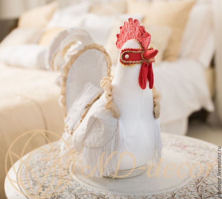 Купить Петух новогодний, Белый с красным гребнем, текстильный, интерьерный - белый, петух, петушок