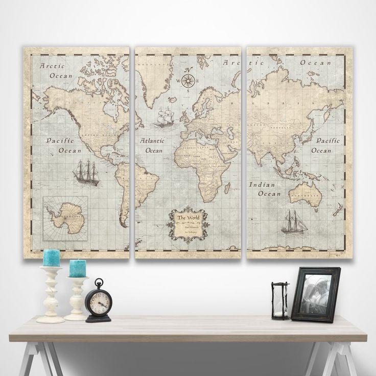 World Travel Map Pin Board wPush Pins