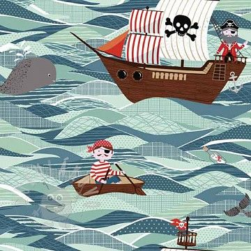 Makower PIRATES Ships