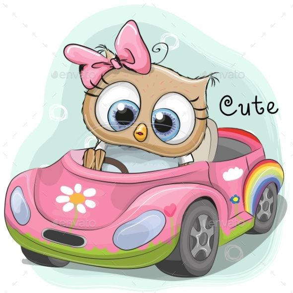 Owl Girl Goes In The Car With Images Owl Cartoon Cute Cartoon
