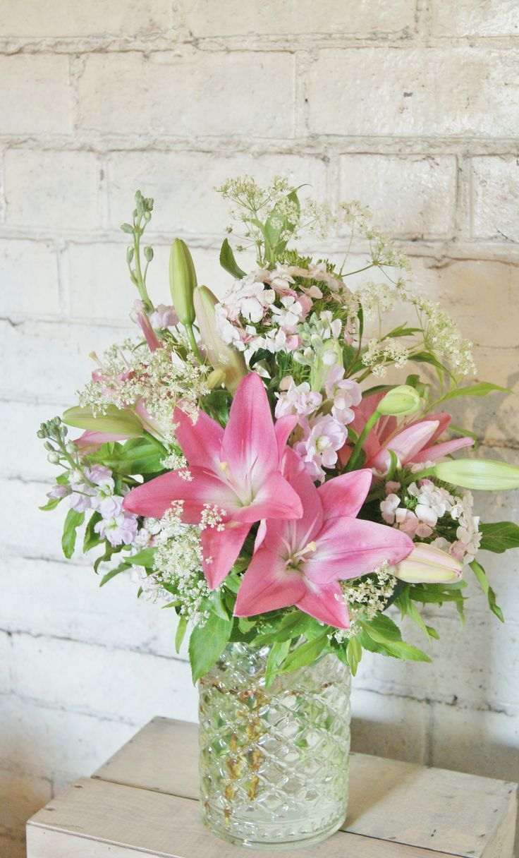 Florissimo, Shropshire. Pretty, rustic corporate flowers display in pink (£20, as at 2016, vase loaned)