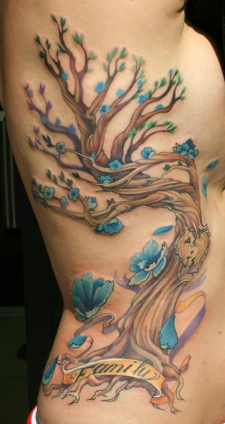 blue flower tattoos, family tree tattoos and family trees. tattoo tattoos ink