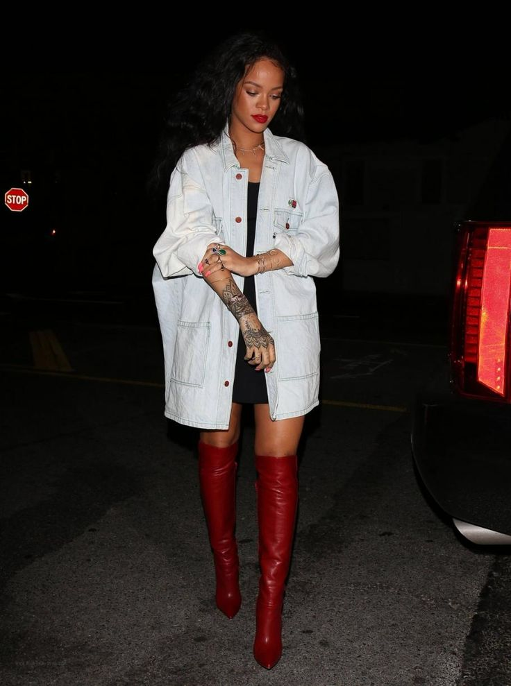 Rihanna wearing Jacquie Aiche 14k Diamond Mini Sweet Leaf Necklace, Christian Louboutin Armurabotta Thigh-High Red Boots, Jacquie Aiche Bunny Ring, Jacquie Aiche Cz Double Leaf Cuff and Jacquie Aiche Diamond & 14k Gold Triangle Cuff.