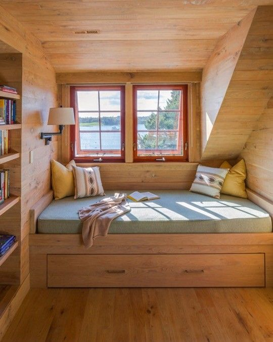 Rustic bedroom reading nook by Holmes Hole Builders is definitely my favorite