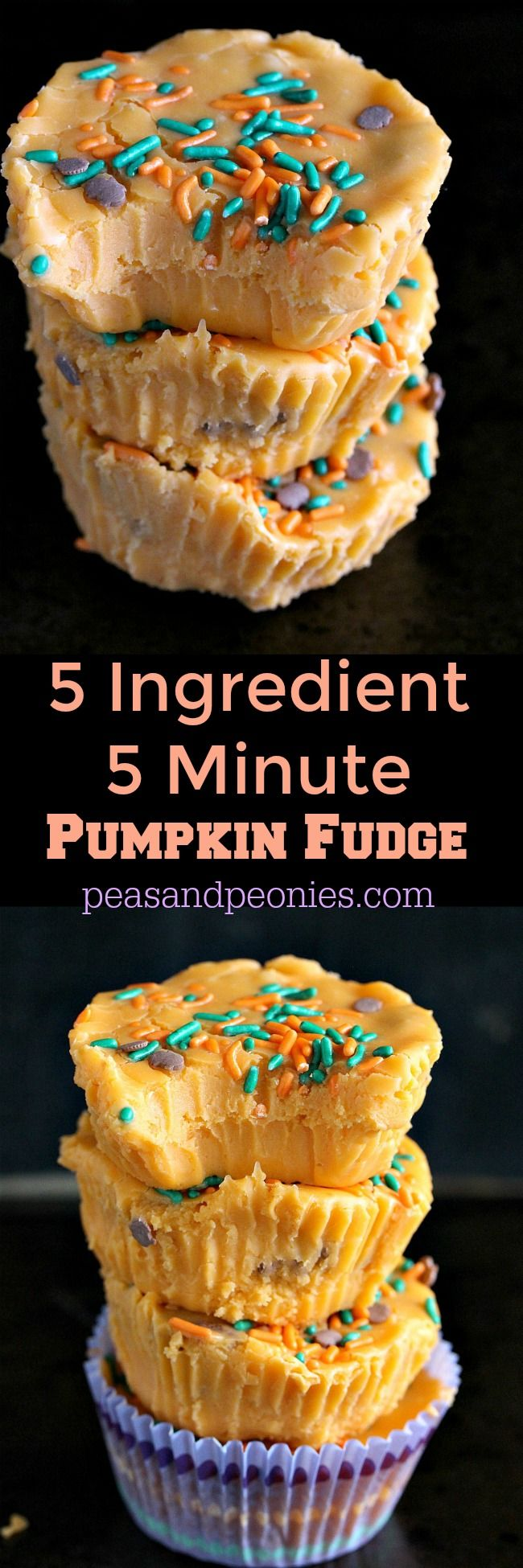 Very easy, festive and delicious Pumpkin Fudge made in 5 minutes with only 5 ingredients! The fudge is also gluten free and no bake! - Peas and Peonies