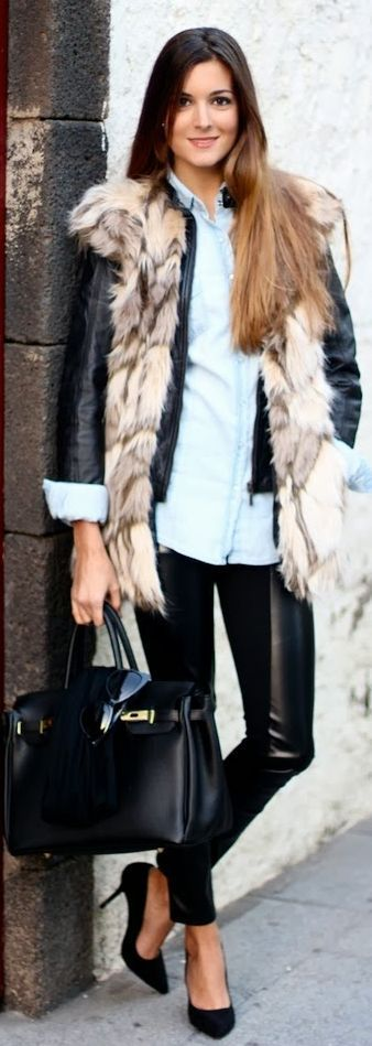 #Fur And #Leather #Vest by Marilyn's Closet