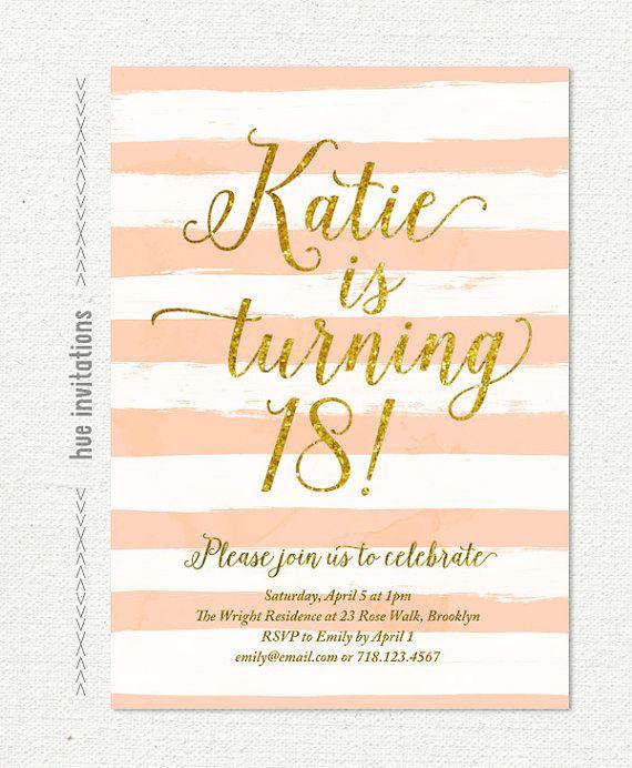invito di compleanno 18 glitter oro per ragazza, invito a una festa compleanno adolescente moderno pesca corallo stripes, file digitali stampabili 5x7 s26