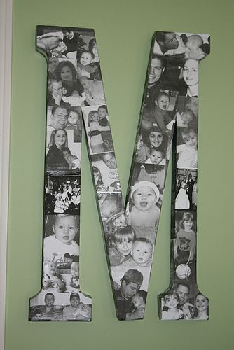 A large Letter with black and white photos mod podged on. So cute!!: Photo Collage, Photo Display, Mod Podge, Gift Ideas, Family Picture Wall, Photo Letter, Craft Ideas