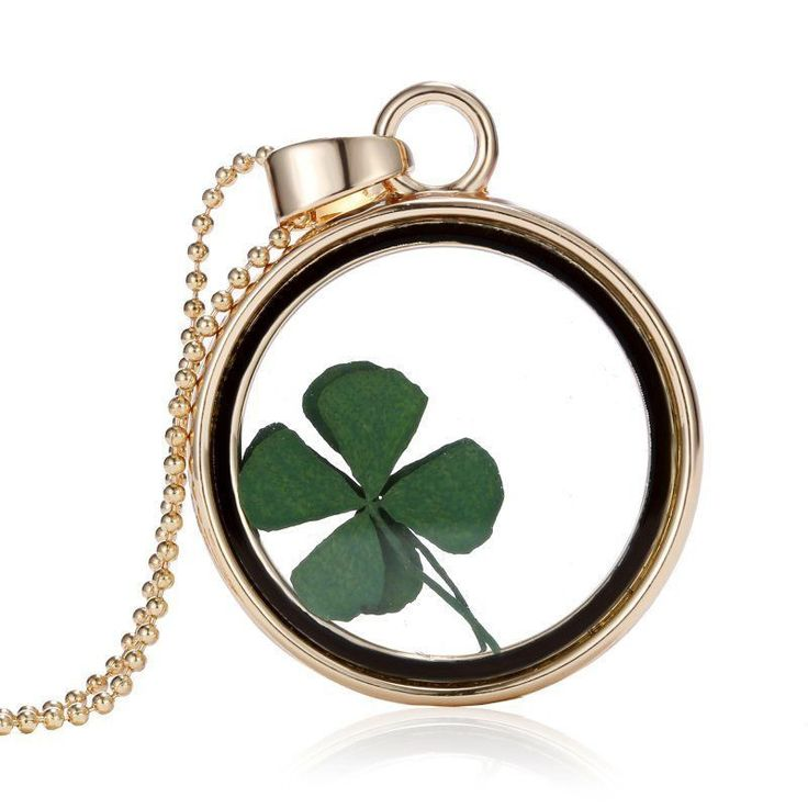 Real Dried 4 Leaf Clover Necklace