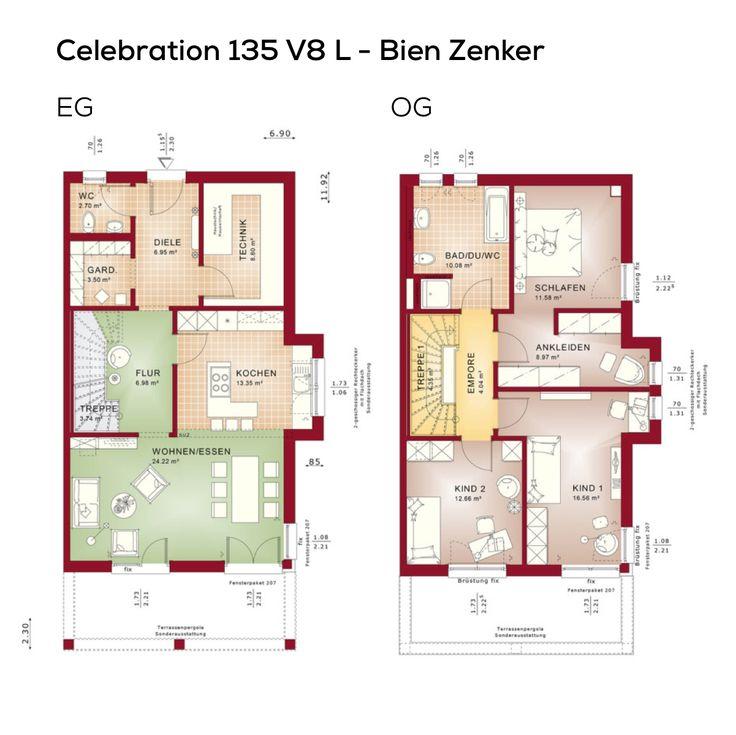 Grundrisse Doppelhaus Modern Mit Flachdach Und Bauhaus Architektur    Fertighaus, 4 Zimmer, Grundriss Erdgeschoss