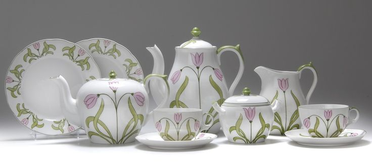 HANS EDUARD VON BERLEPSCH-VALENDÀS tea and coffee service, 1900, porcelain decorated with pink flowers, manufactured by Swaine & Co.