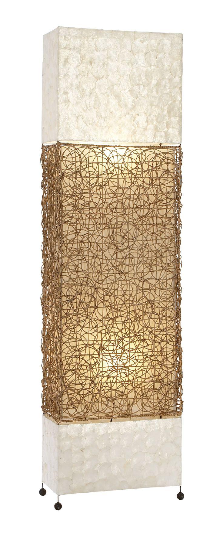 Unique Lamps Metal Capiz Rattan Floor Lamp