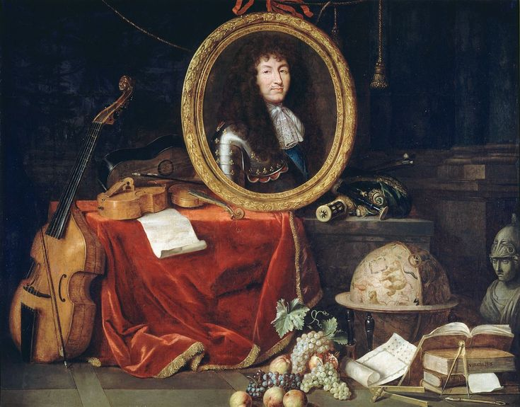 Jean garnier portrait of louis xiv surrounded by attributes of art versaille louis xiv - Les jardins de versailles histoire des arts ...