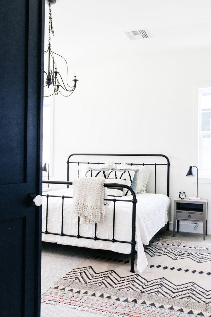 bedroom black iron bed