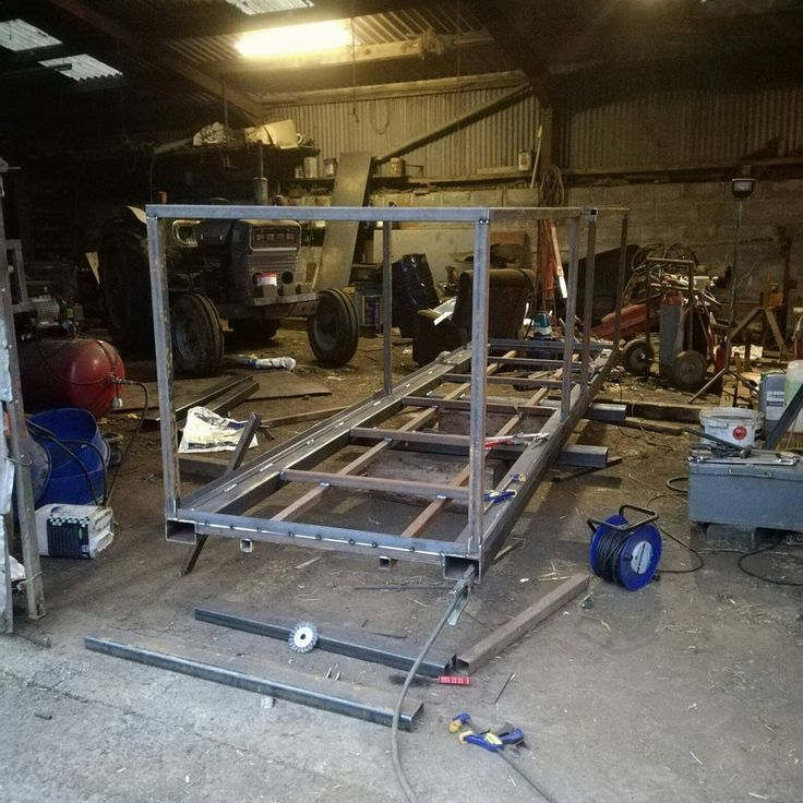 Chassis and frame built up for a lifting crate/man basket nice weekend work and only a paint floor and few bits to go. #welding #fabrication #mig #blacksmith #metalworking #farming #design