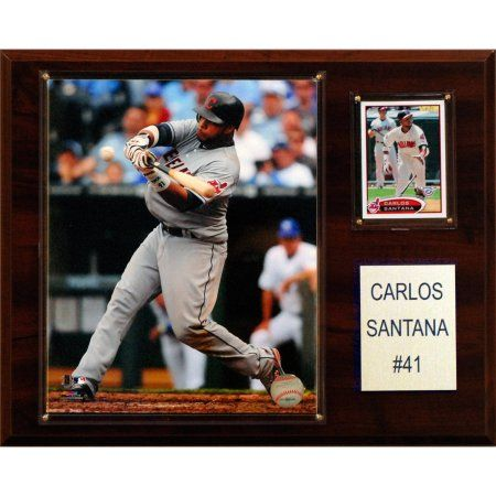 C Collectables MLB 12x15 Carlos Santana Cleveland Indians Player Plaque